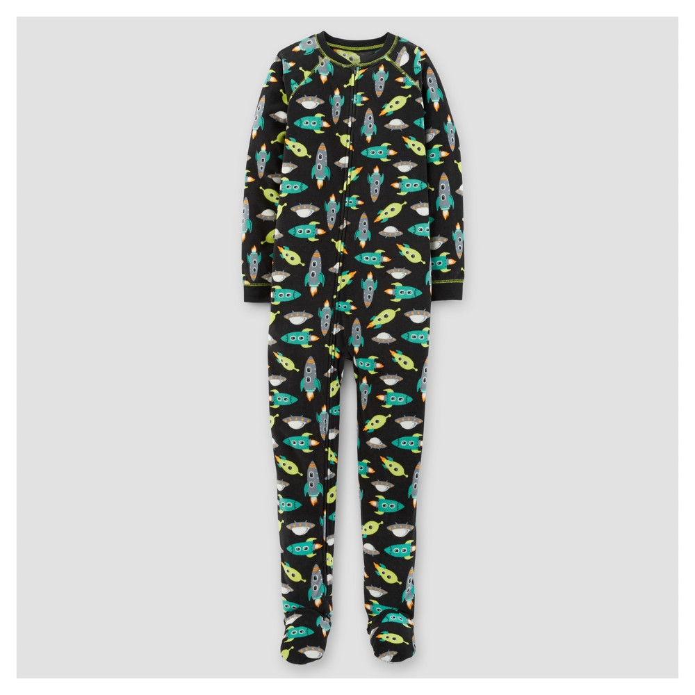 Boys One Piece Pajama Fleece Spaceships Footed Sleepwear - Just One You Made by Carters Vision Blue Opaque 4, Black