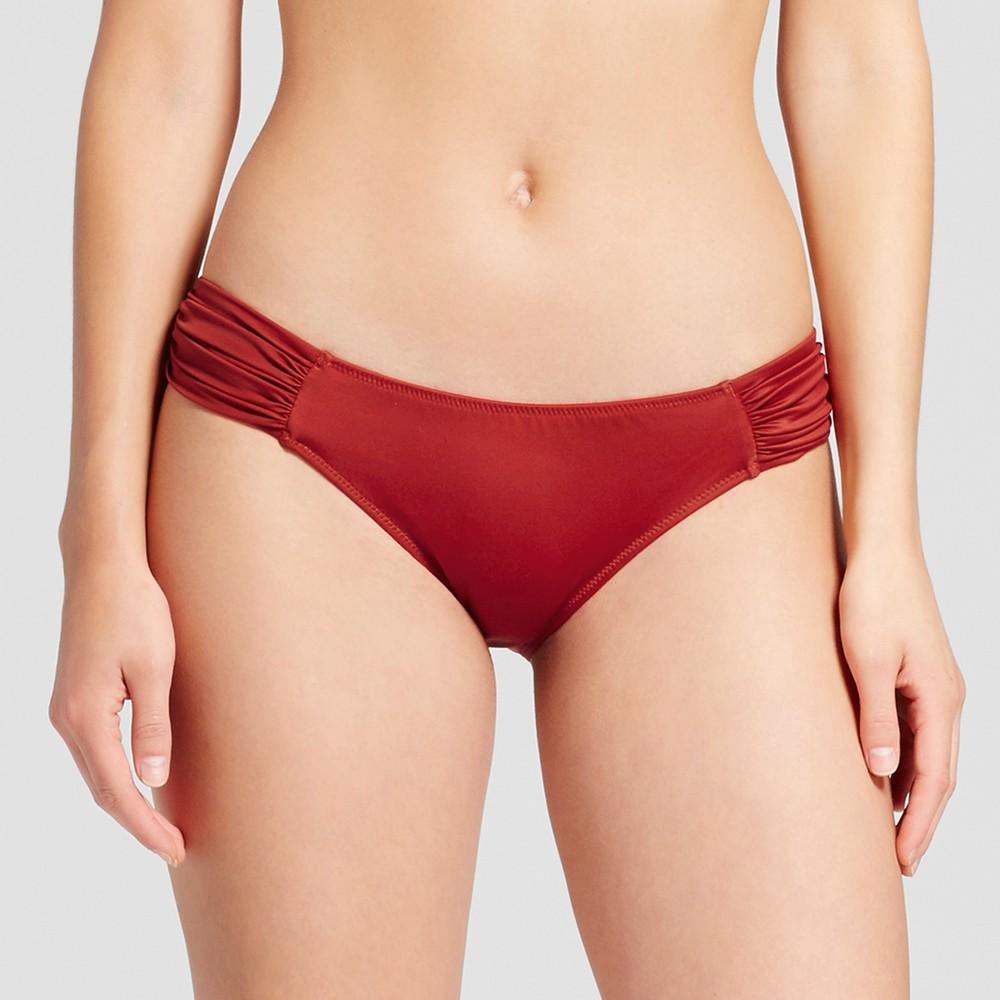 Womens Beach Hipster Bikini Bottom - Shade & Shore Deep Red M, Brown