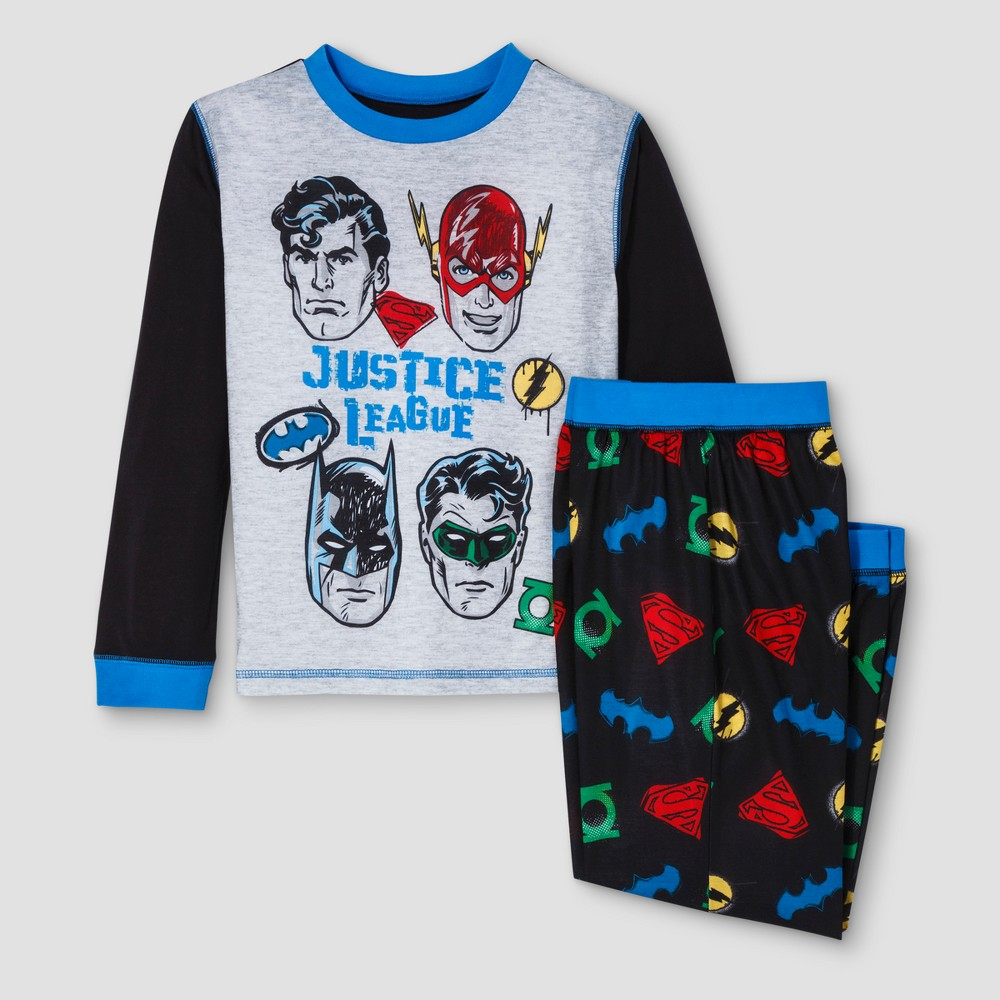 Boys' Justice League 2 Piece Long Sleeve Superhero Pajama Set - Black XS