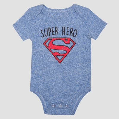 Baby Boys' Short Sleeve Superman Super Hero Bodysuit - Royal 6-9M