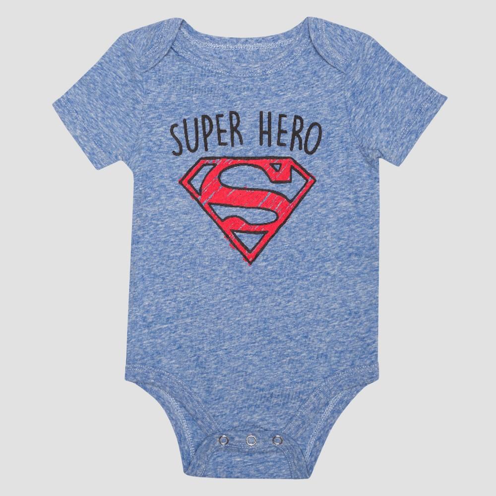 Baby Boys Short Sleeve Superman Super Hero Bodysuit - Royal 12M, Size: 12 M, Blue