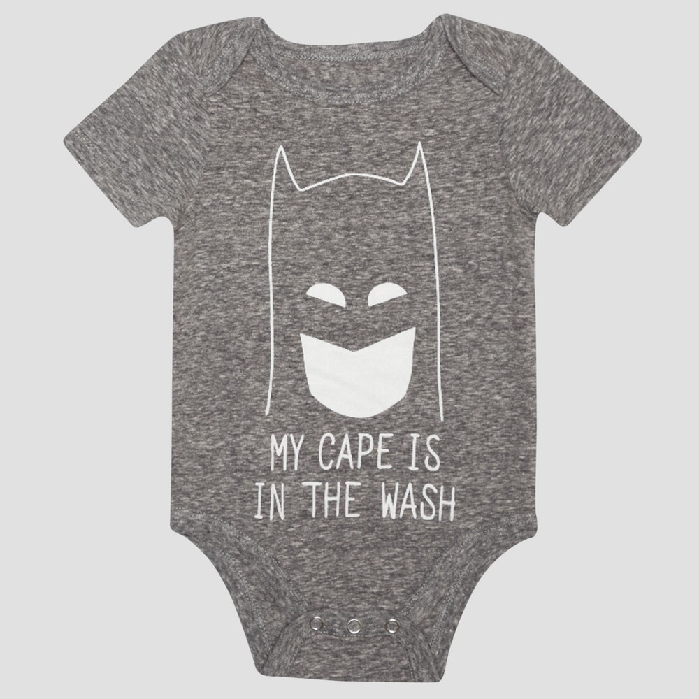 Baby Boys Batman Short Sleeve My Cape is in the Wash Bodysuit - Charcoal 0-3M, Size: 0-3 M, Gray