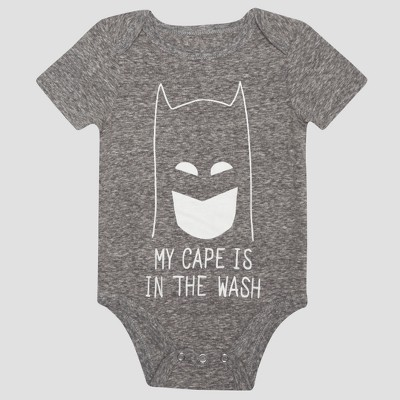 Baby Boys' Batman Short Sleeve My Cape is in the Wash Bodysuit - Charcoal 3-6M