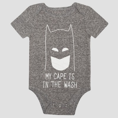 Baby Boys' Batman Short Sleeve My Cape is in the Wash Bodysuit - Charcoal 6-9M