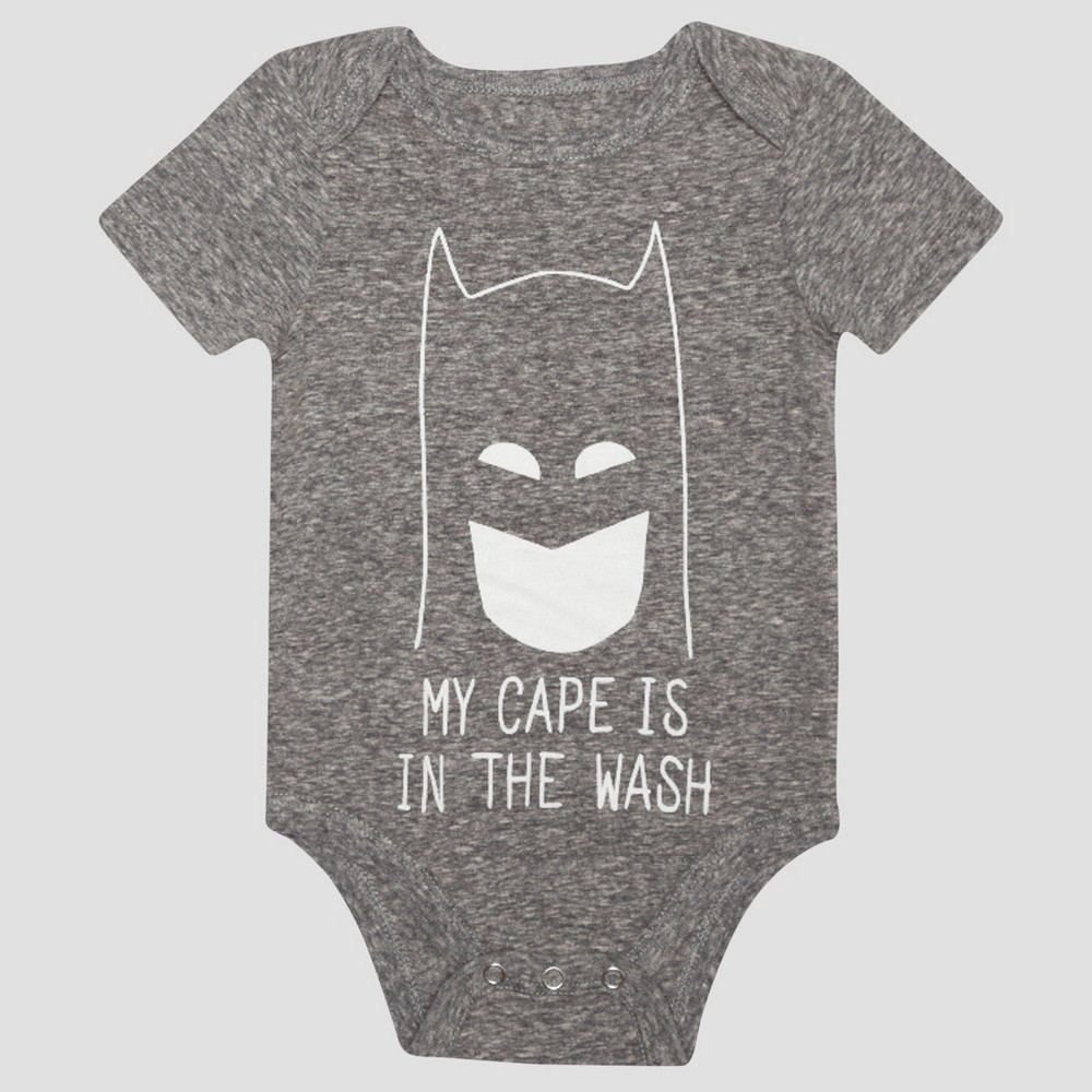 Baby Boys Batman Short Sleeve My Cape is in the Wash Bodysuit - Charcoal 6-9M, Size: 6-9 M, Gray