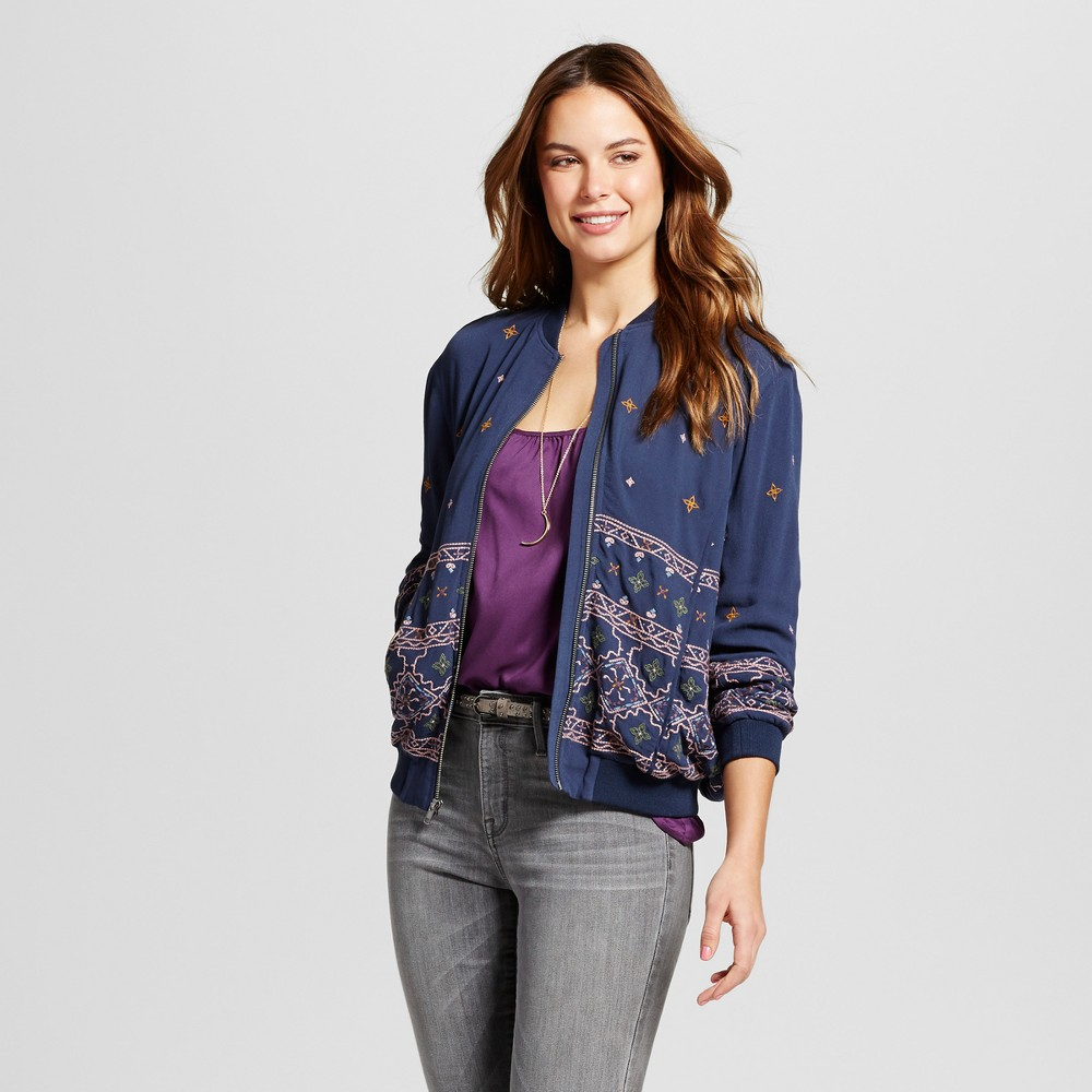 Women's Embroidered Bomber Jacket - Knox Rose Navy XL, Blue