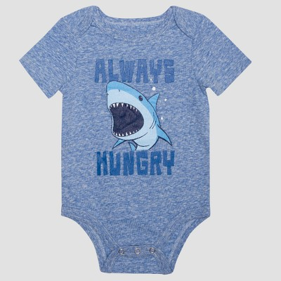 Baby Boys' Short Sleeve Always Hungry Shark Bodysuit - Heather Blue 0-3M