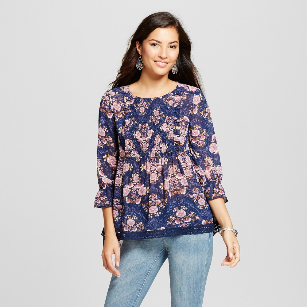Womens Ruched Floral Print Top - Knox Rose Navy XS, Blue