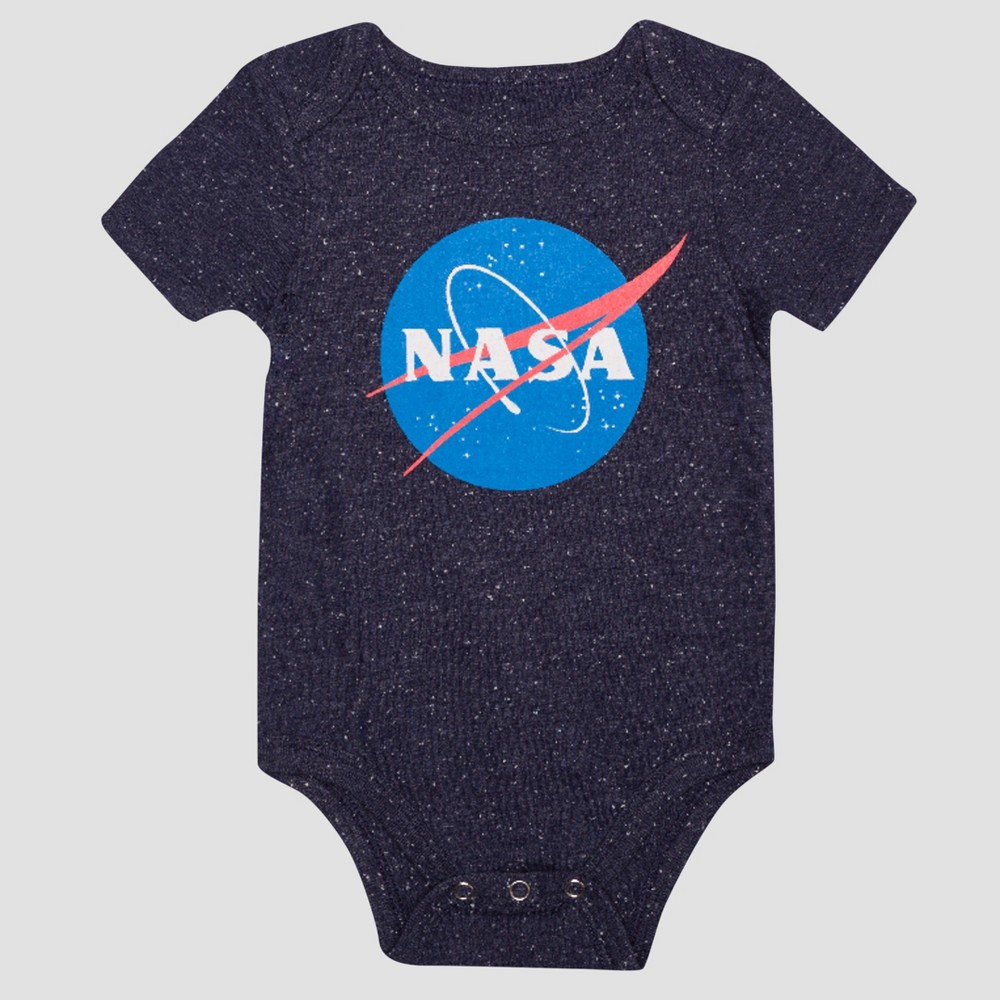 Baby Boys Short Sleeve Nasa Classic Bodysuit - Navy 6-9M, Size: 6-9 M, Blue