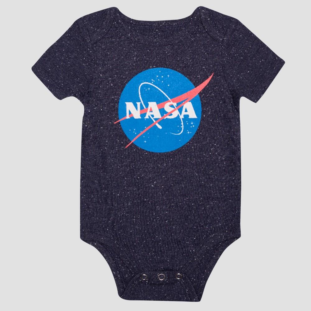 Baby Boys Short Sleeve Nasa Classic Bodysuit - Navy 12M, Size: 12 M, Blue