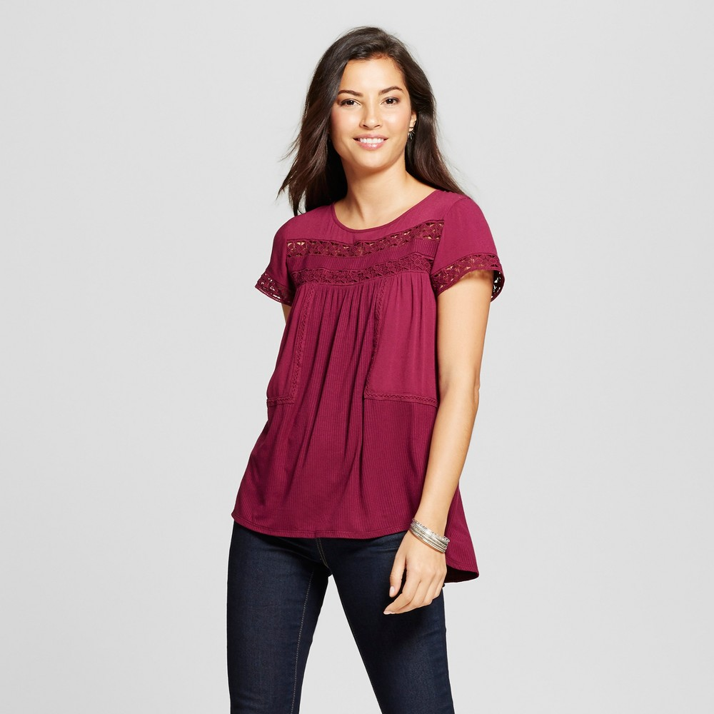 Womens Knit to Woven Top with Lace - Knox Rose Merlot S, Purple
