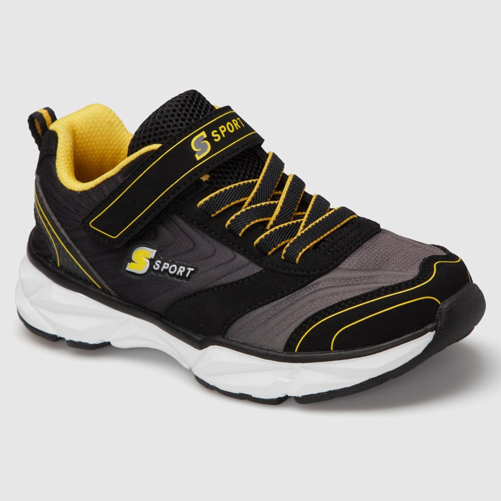 Boys S Sport by Skechers Lapse Athletic Shoes - Black 5, Black Yellow White