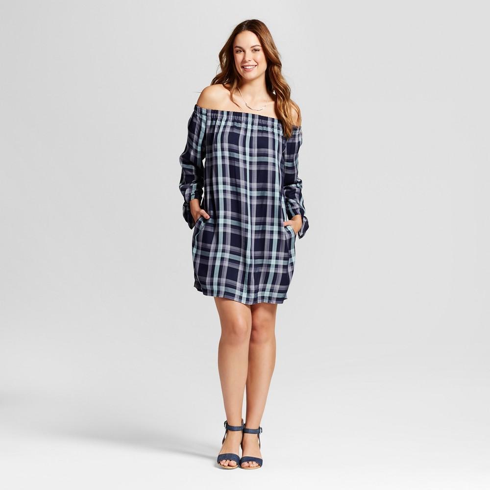Womens Plaid Off the Shoulder Dress - Knox Rose Navy S, Blue