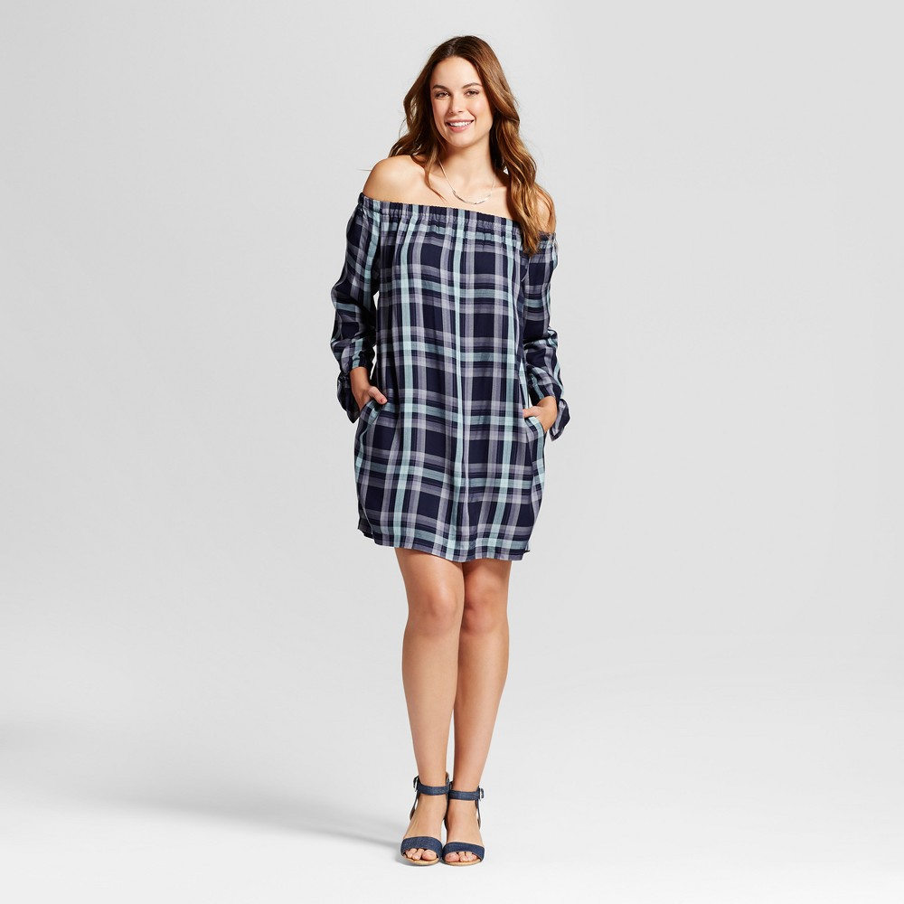 Womens Plaid Off the Shoulder Dress - Knox Rose Navy L, Blue