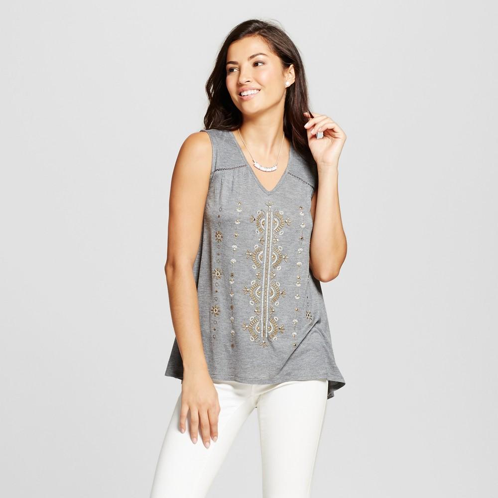 Womens Embellished Knit Tank - Knox Rose Gray XS