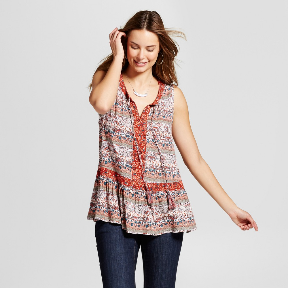 Womens Floral Printed Peplum Tank with Tassels - Knox Rose Rust L, Red