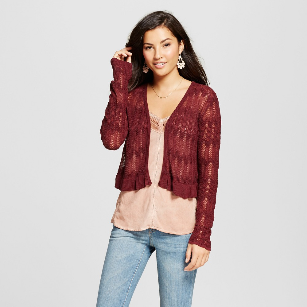 Womens Cropped Pointelle Ruffle Cardigan - Knox Rose Burgundy XS, Red
