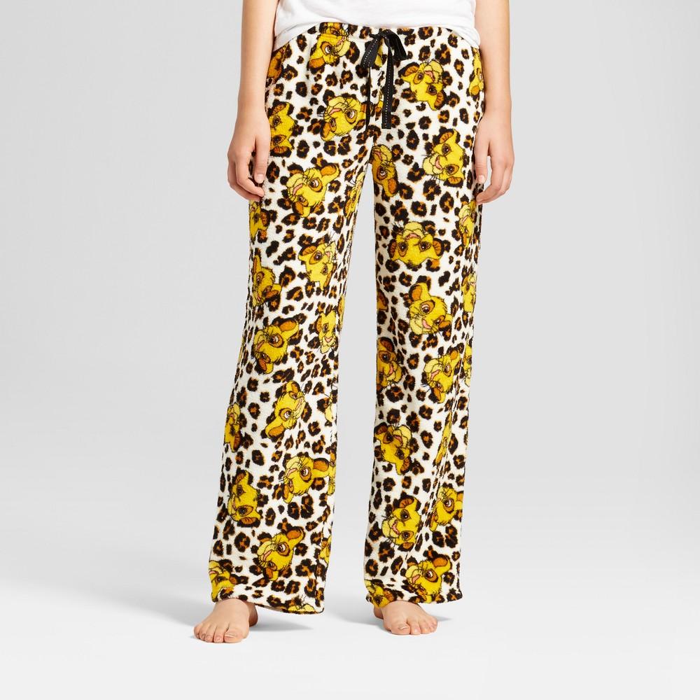 Women's Disney Lion King Simba Spot Plush Pajama Pants - Cream M (Junior Sizing), Beige