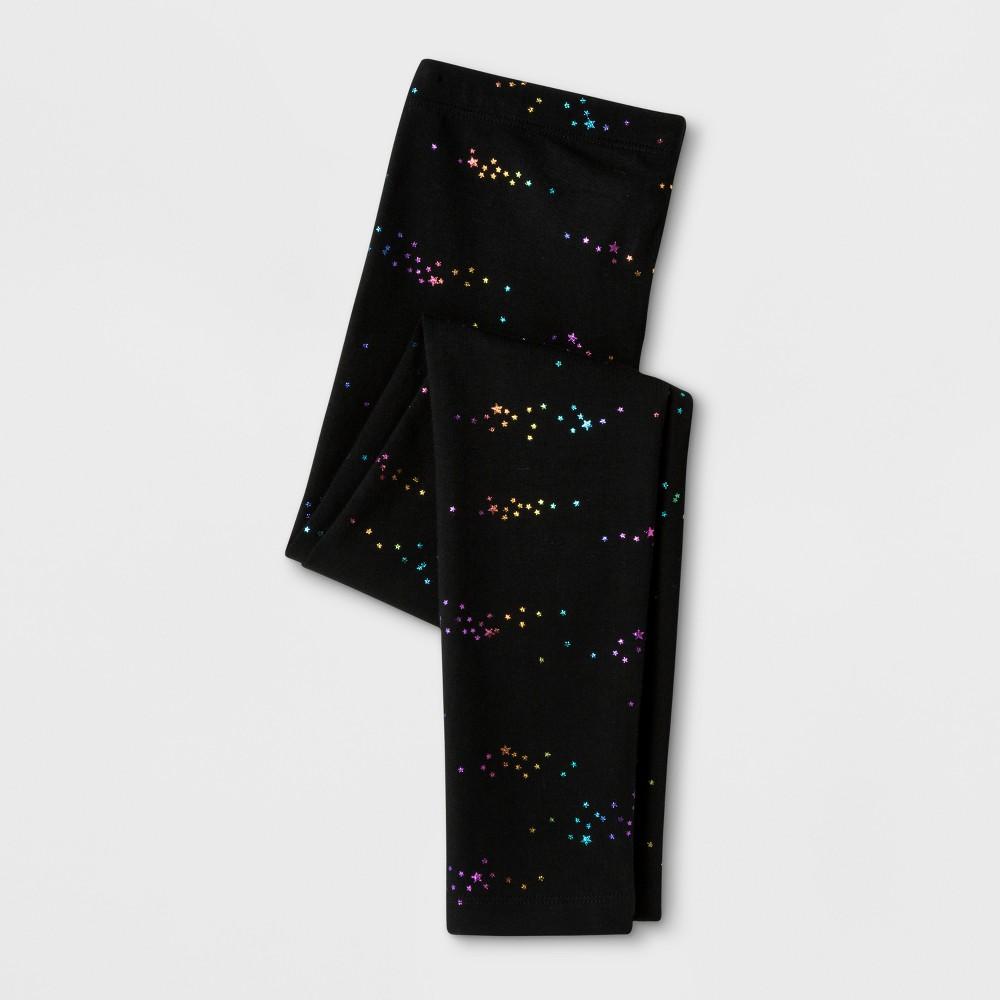 Girls Rainbow Foil Stars Favorite Leggings - Cat & Jack Black S