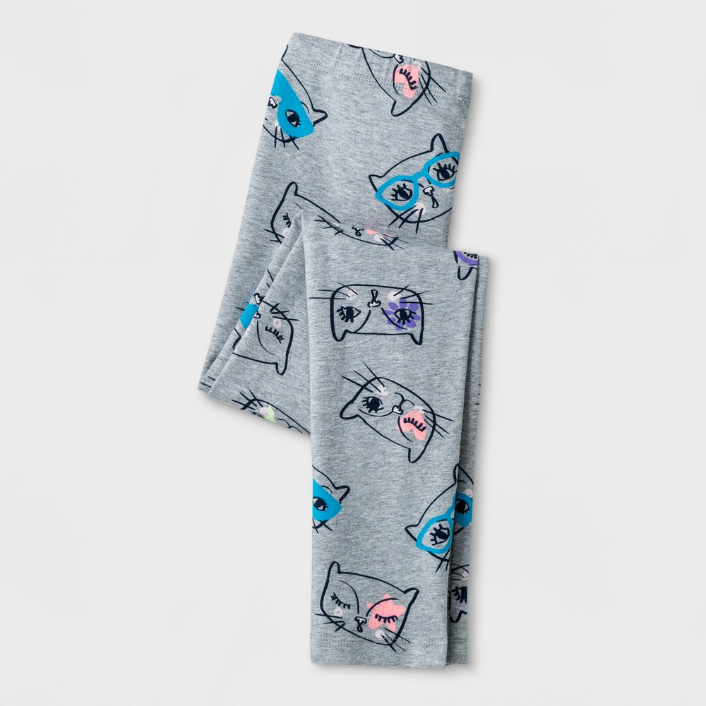 Girls Cats Favorite Leggings - Cat & Jack Heather Gray XL