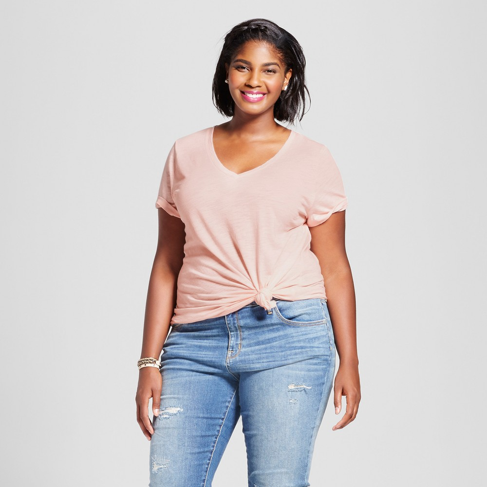 Womens Plus Size V-Neck T-Shirt - Ava & Viv Just Peachy 3X