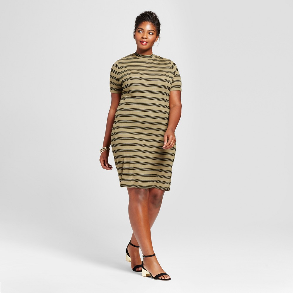 Women's Plus Size Ribbed T-Shirt Dress - Ava & Viv Olive (Green) Stripe 3X