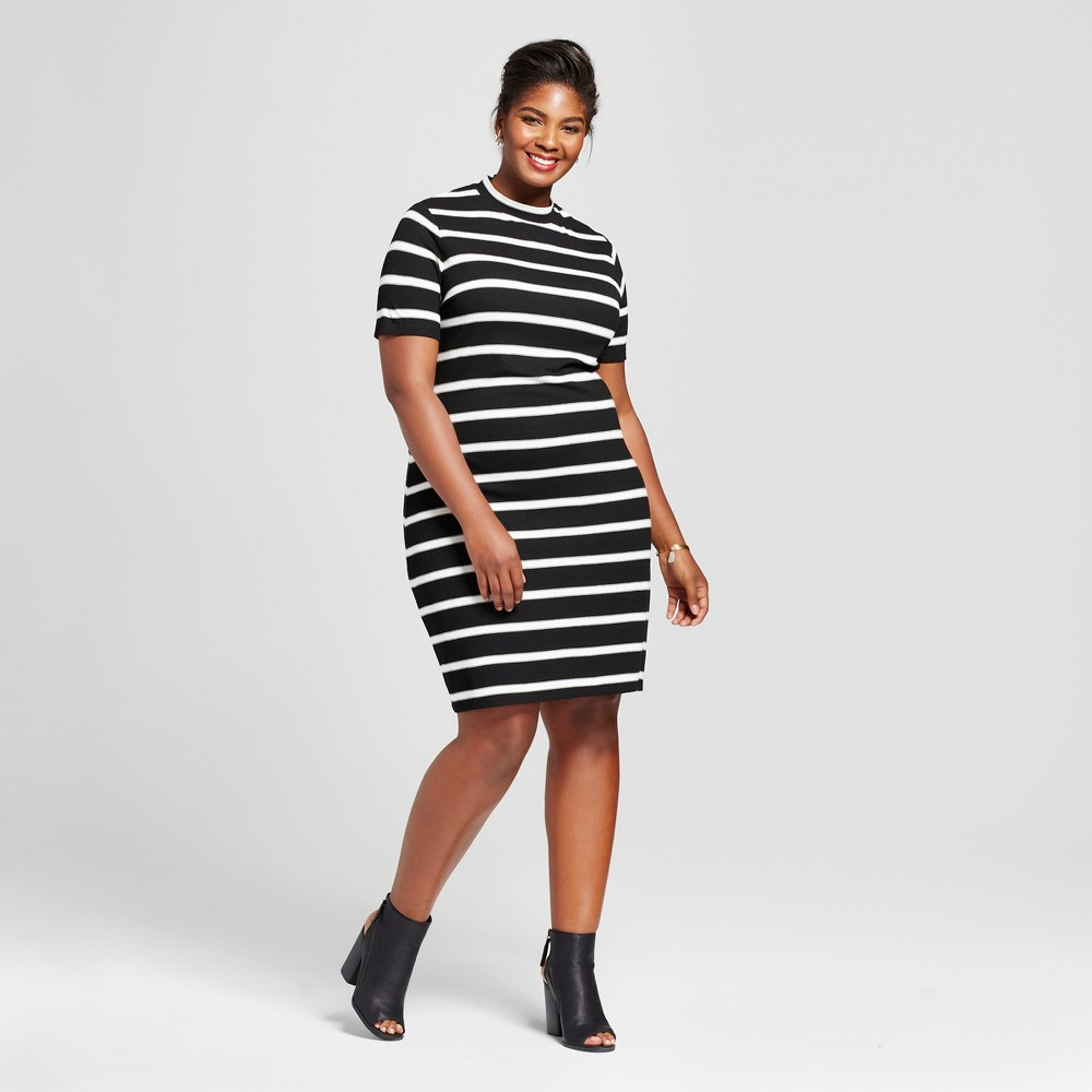 Womens Plus Size Ribbed T-Shirt Dress - Ava & Viv Black Stripe 1X