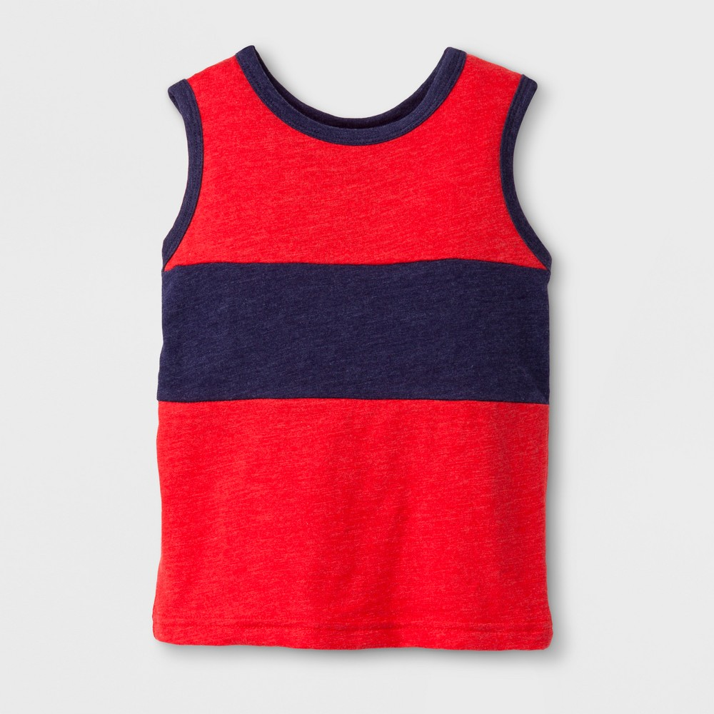 Toddler Boys Tank Top - Cat & Jack Red/Navy 4T
