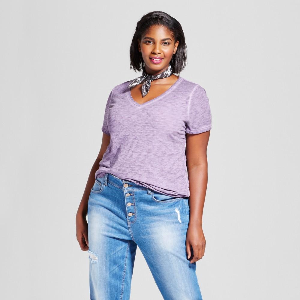 Womens Plus Size V-Neck T-Shirt - Ava & Viv Lilac 2X, Purple Bergamot