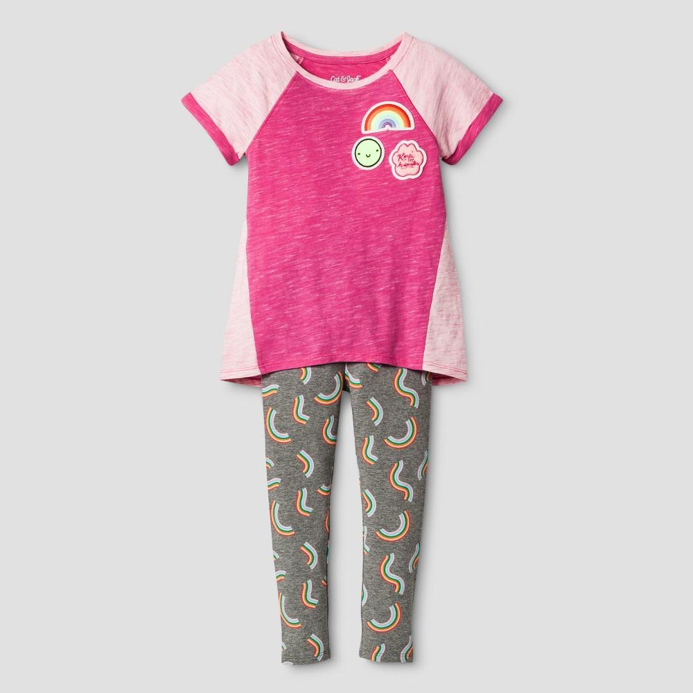 Toddler Girls Top And Bottom Set - Cat & Jack Stunning Magenta 4T, Pink