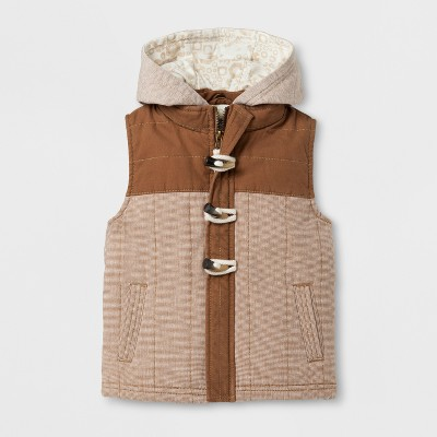 Toddler Boys' Military Vest with Hood - Genuine Kids® from OshKosh™ Brown 12 M