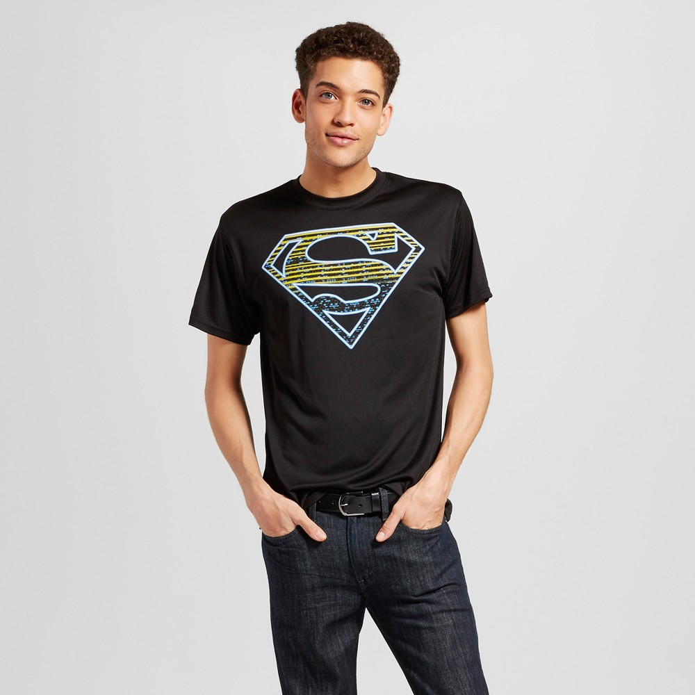 Mens Superman Activewear T-Shirts Black XL