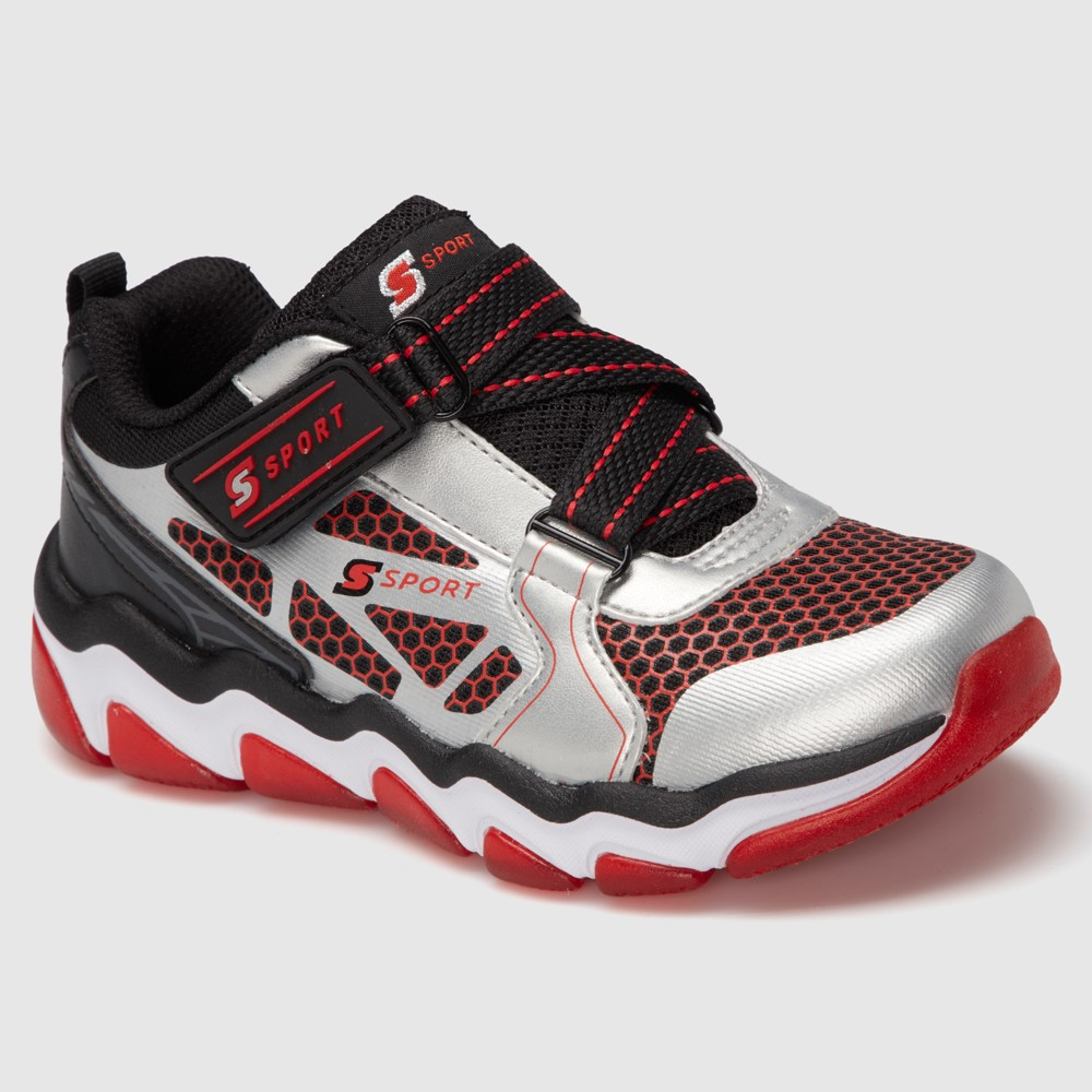 Boys S Sport by Skechers Hyperbole Athletic Shoes - Gray/Red 2, Gray Red White