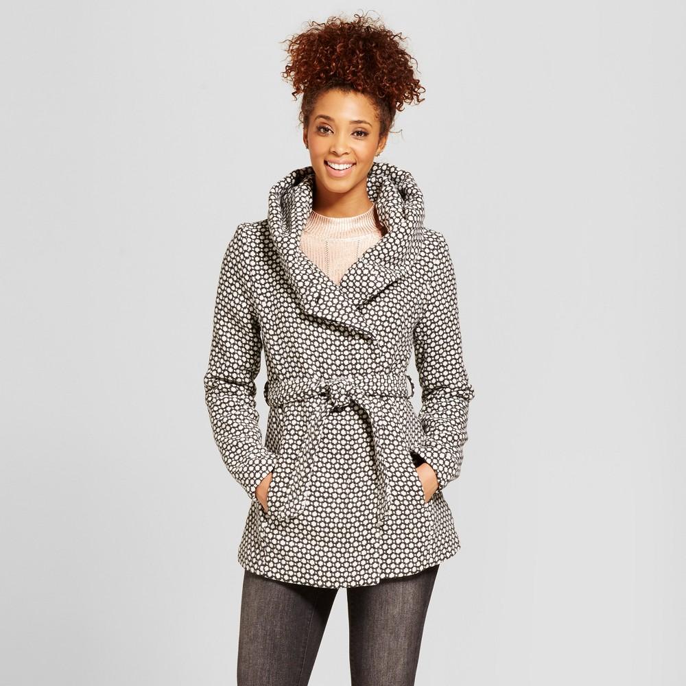 Womens Faux Wool Wrap - Xhilaration Black & White XS, Beige