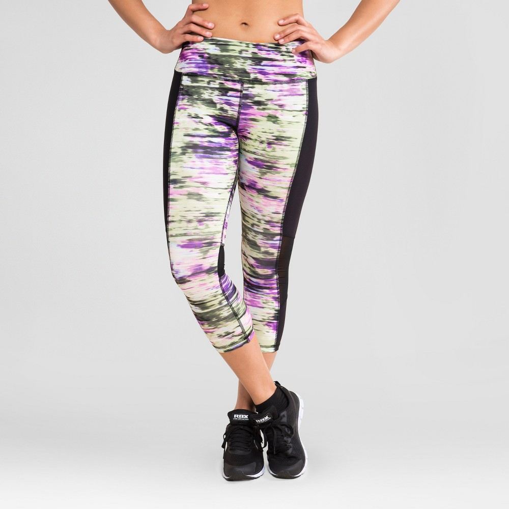 Rbx Women's Striated Color Block Capri Leggings - Purple S