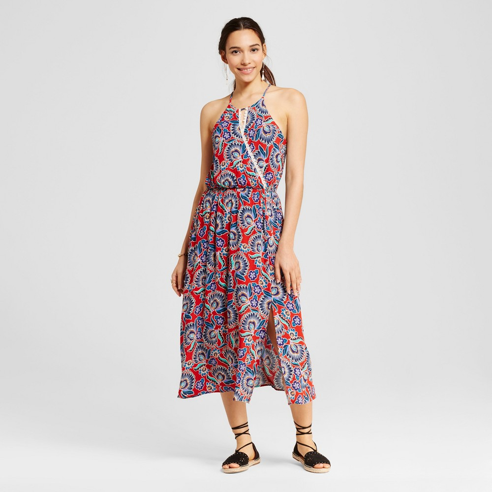 Womens Printed Keyhole Maxi Dress - Le Kate (Juniors) Red S