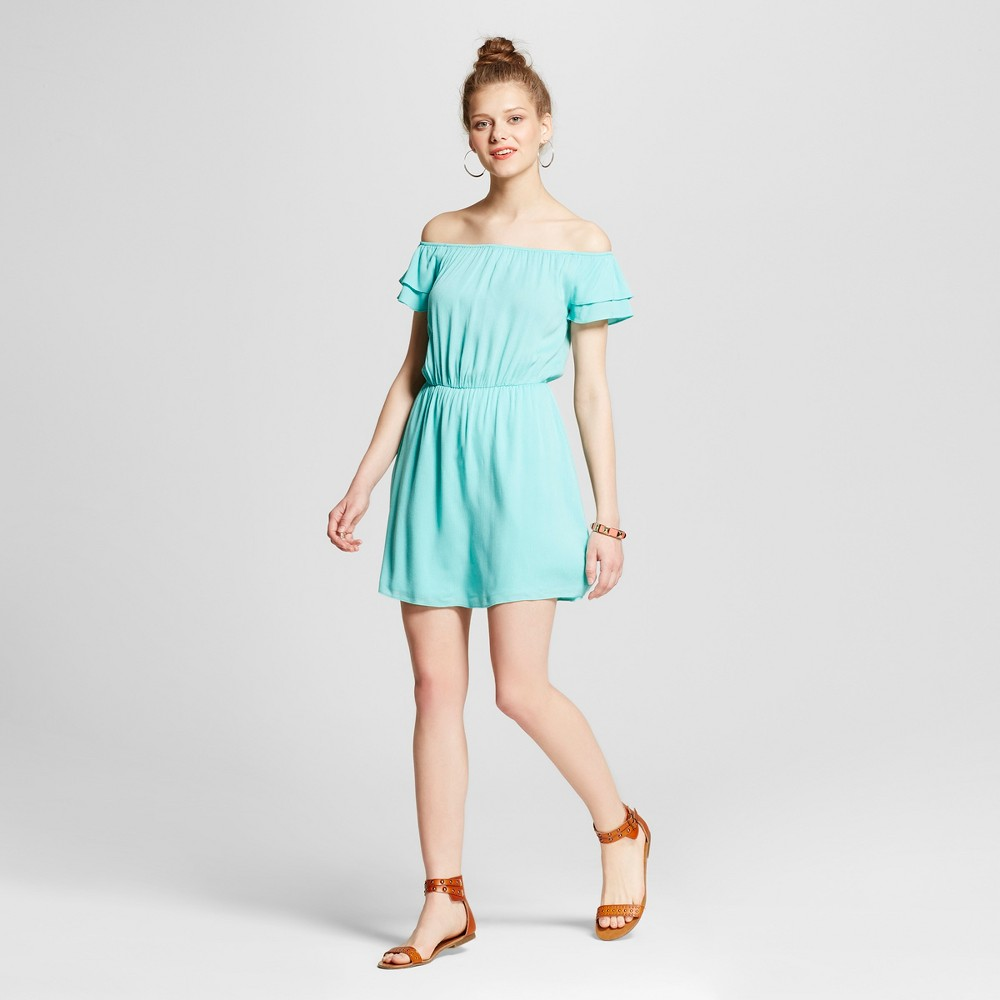 Womens Off the Shoulder Dress - Le Kate (Juniors) Green S