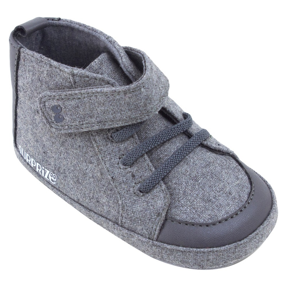 Baby Boys Surprize by Stride Rite Brad High Top Soft Sole Shoes - Gray 0-6M