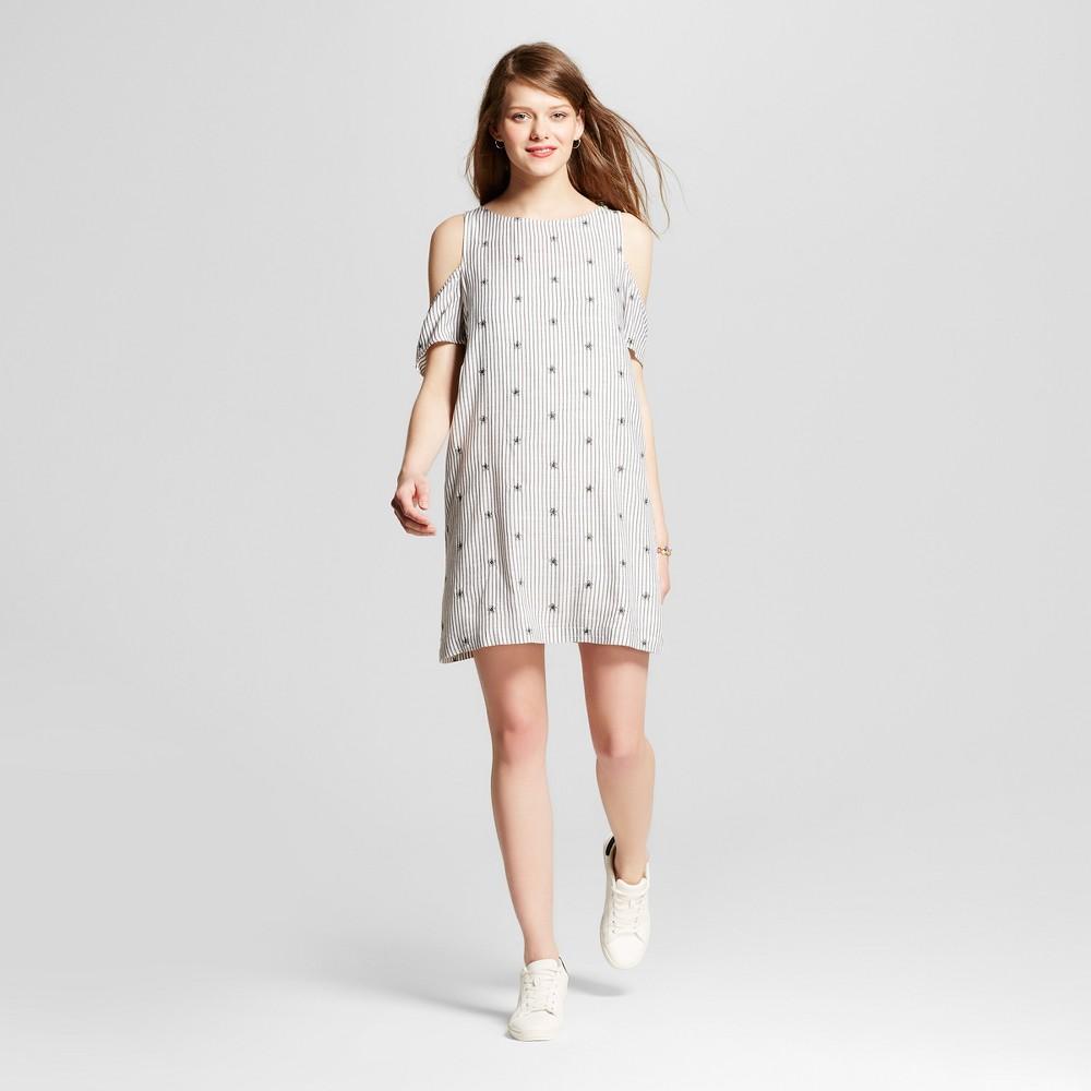 Womens Dot Stripe Cold Shoulder Shift Dress - Le Kate (Juniors) Black/White S
