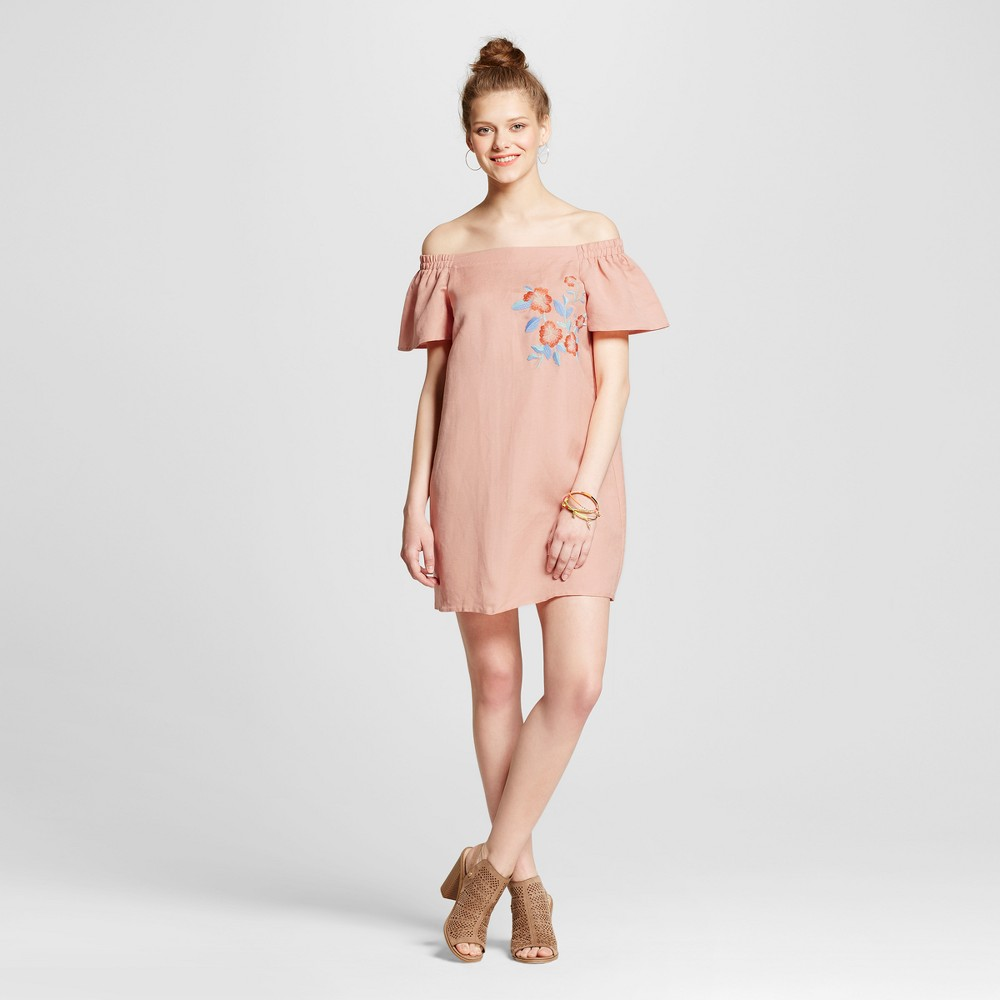 Womens Embroidered Off the Shoulder Dress - Le Kate (Juniors) Mauve M, Pink