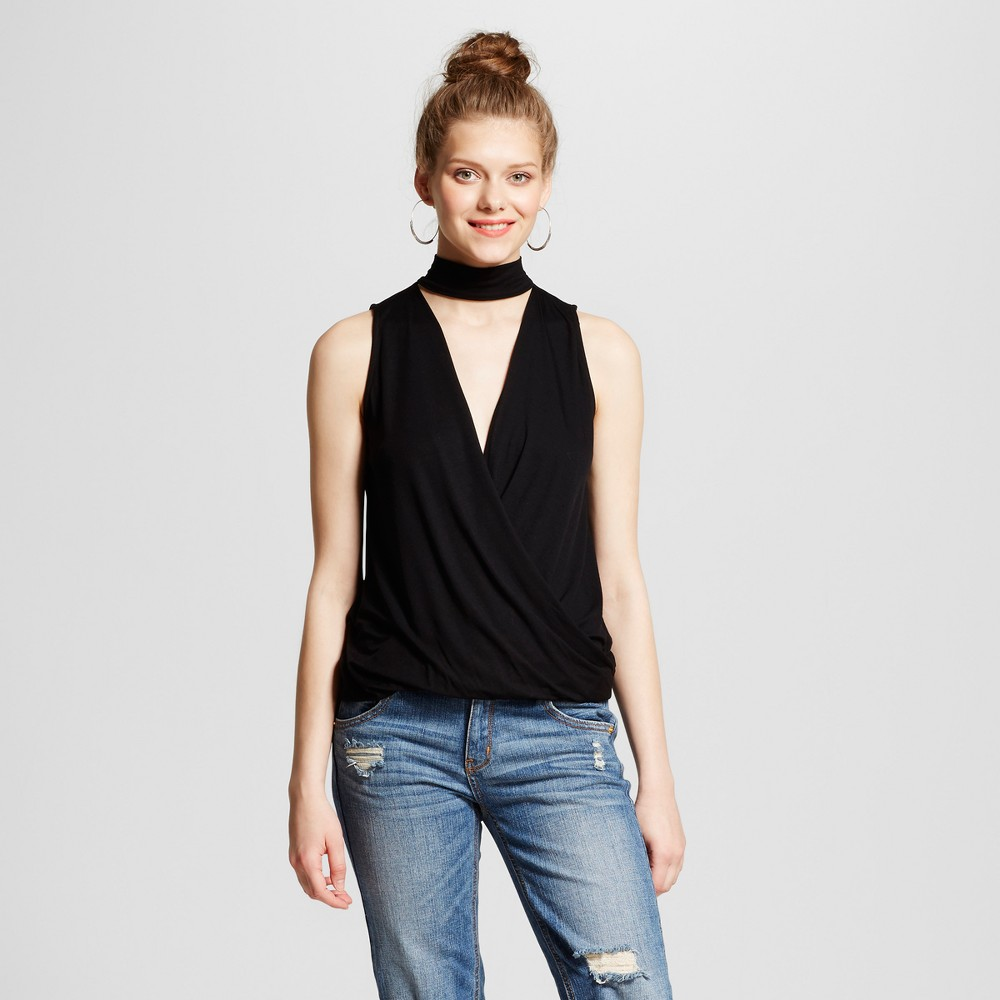 Womens Choker Wrap Front Top - Le Kate (Juniors) Black M