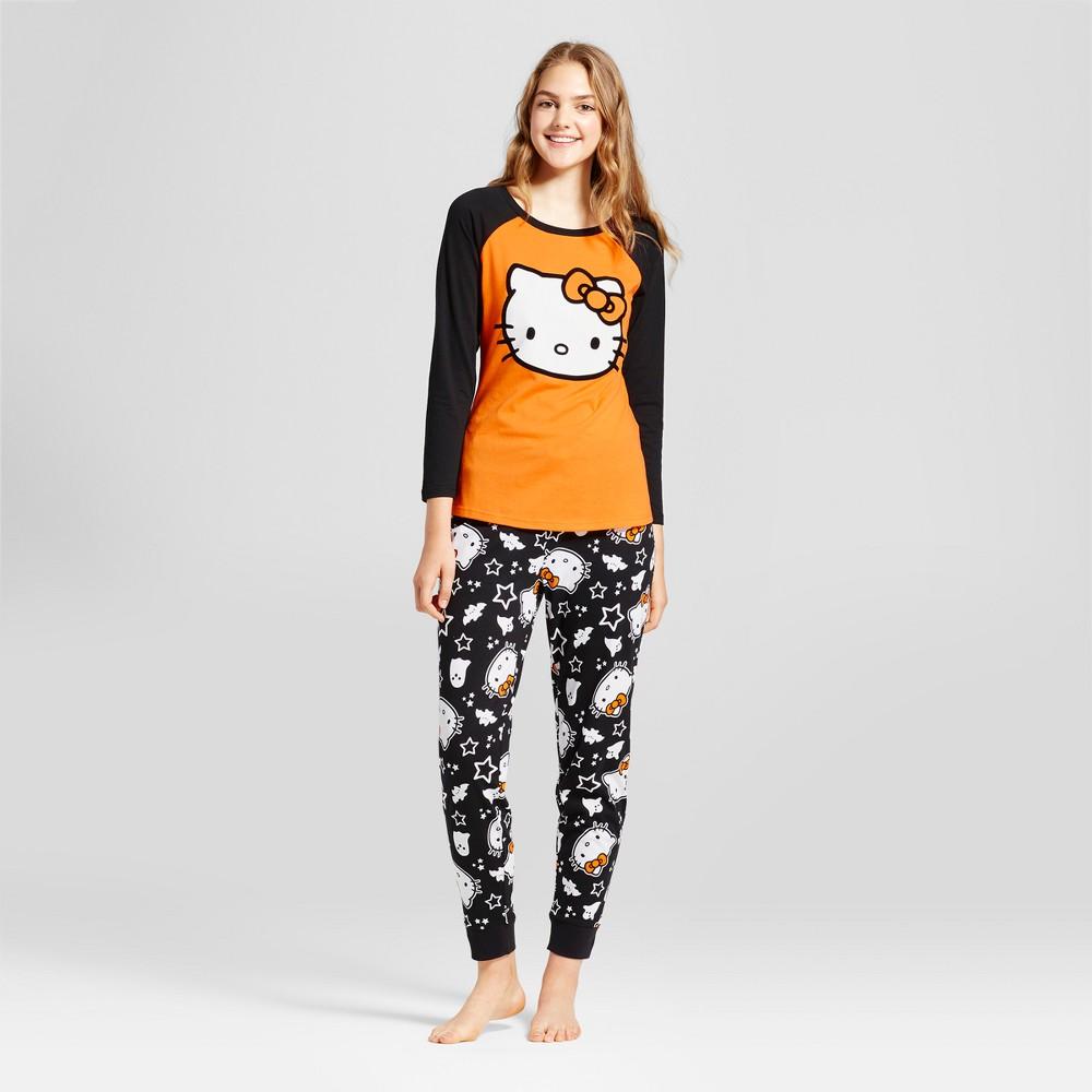Hello Kitty Womens Tee/Jogger Pajama Set - Orange M (Juniors)