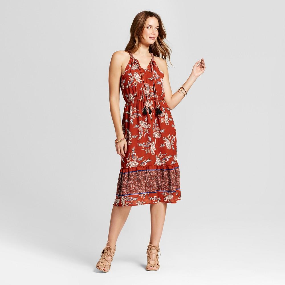 Womens Paisley Border Print Dress - Knox Rose L, Red