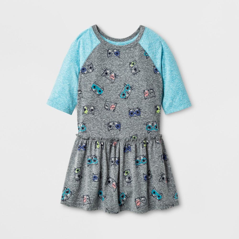 Toddler Girls A Line Dress - Cat & Jack Turbine Gray 12M, Size: 12 M, Blue