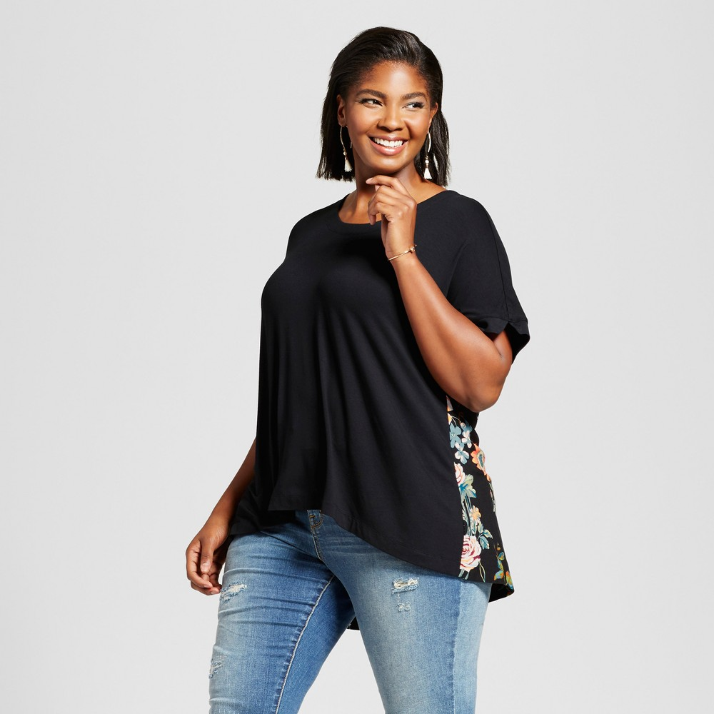 Womens Plus Size Mixed Media T-Shirt with Floral Print - Ava & Viv Black 3X