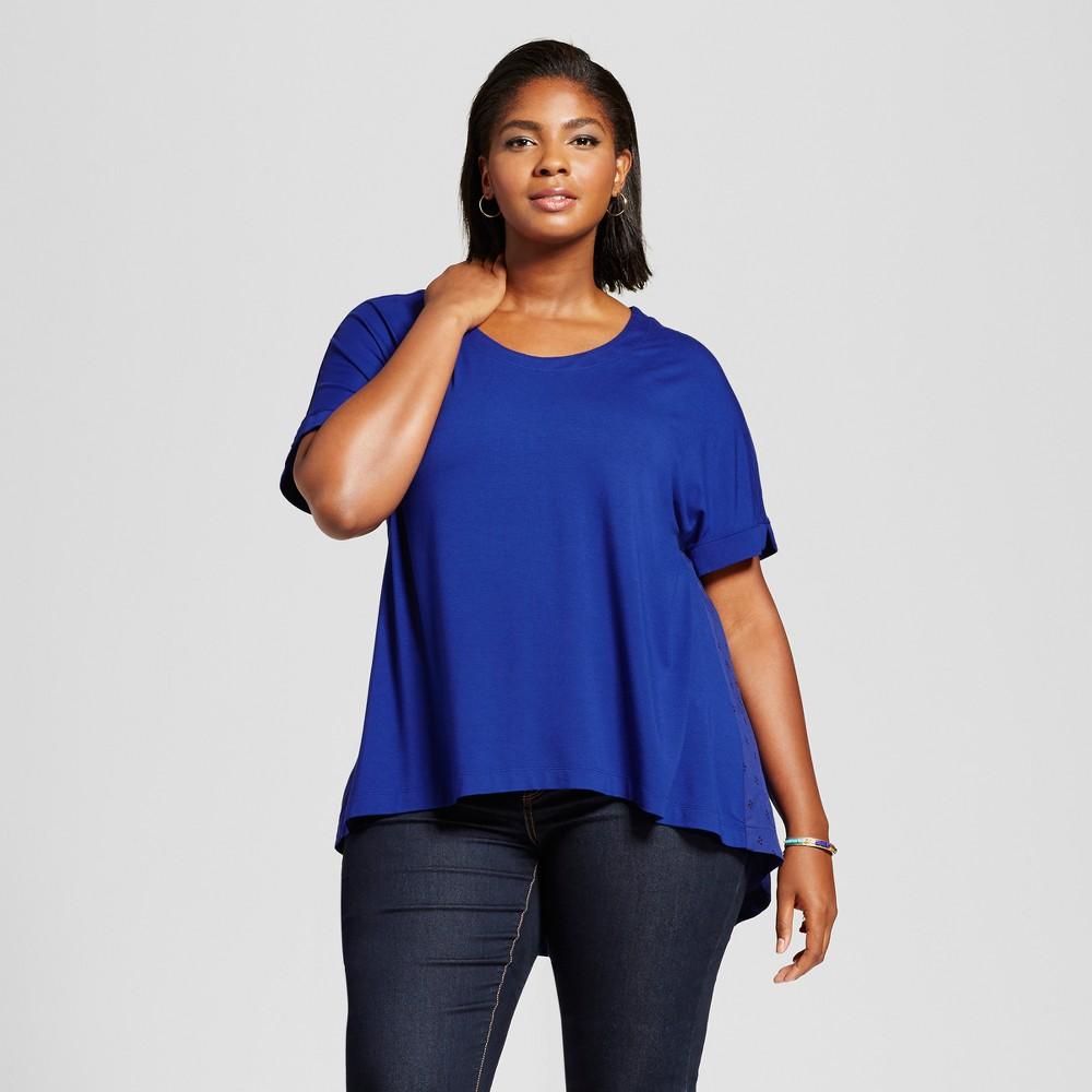 Womens Plus Size Mixed Media T-Shirt with Geo Print - Ava & Viv Blue 3X