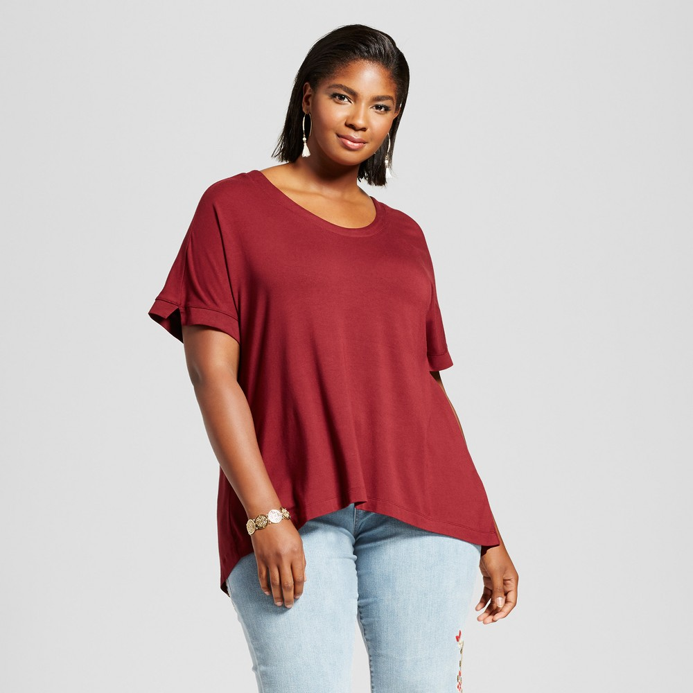 Womens Plus Size Mixed Media T-Shirt - Ava & Viv Opulent Red 2X