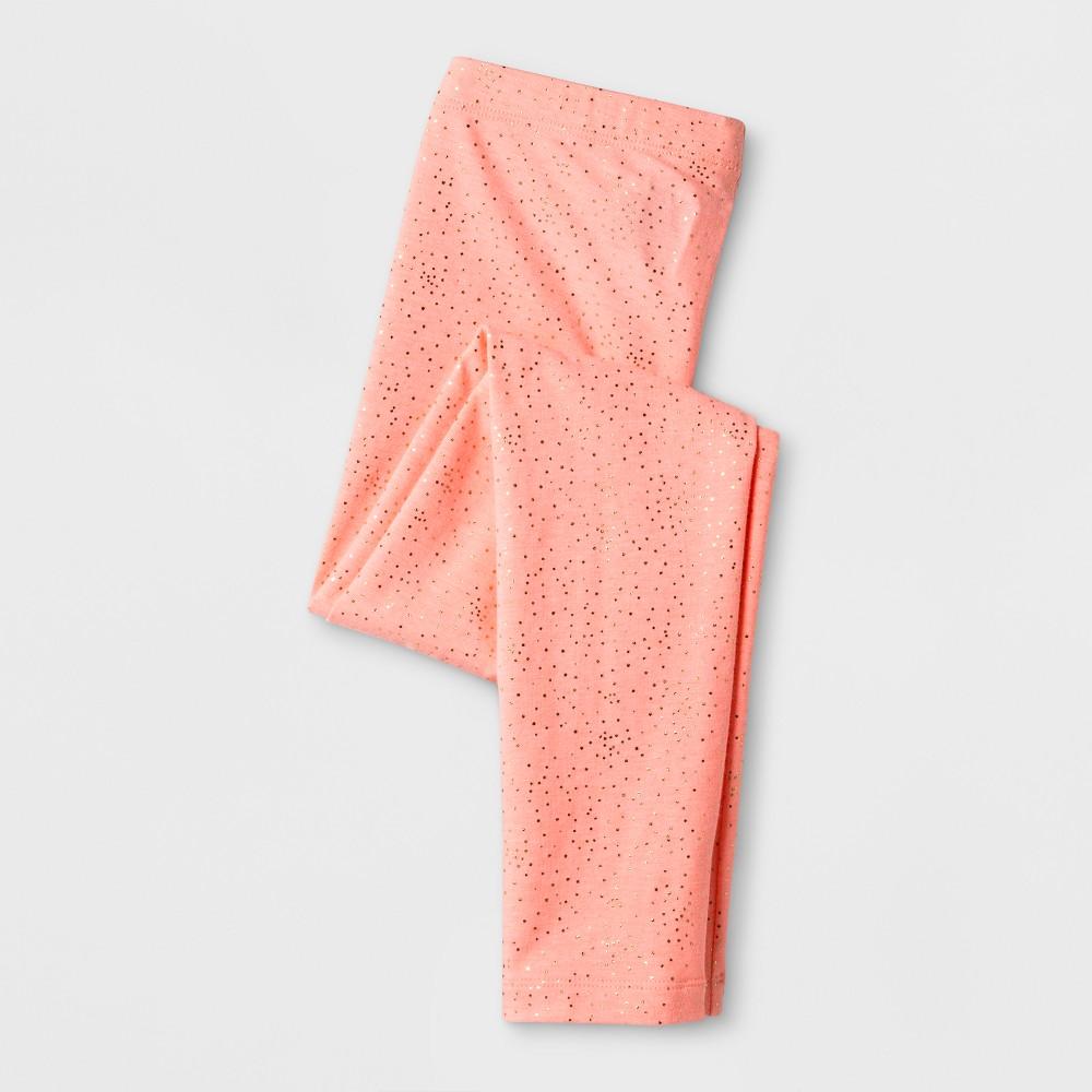 Girls Silver Foil Dots Favorite Leggings - Cat & Jack Coral XS, Orange