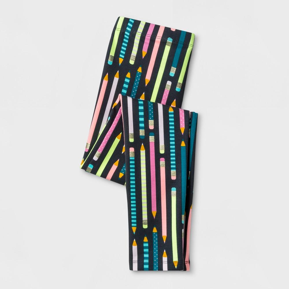 Girls' Pencils Favorite Leggings - Cat & Jack Gray XS
