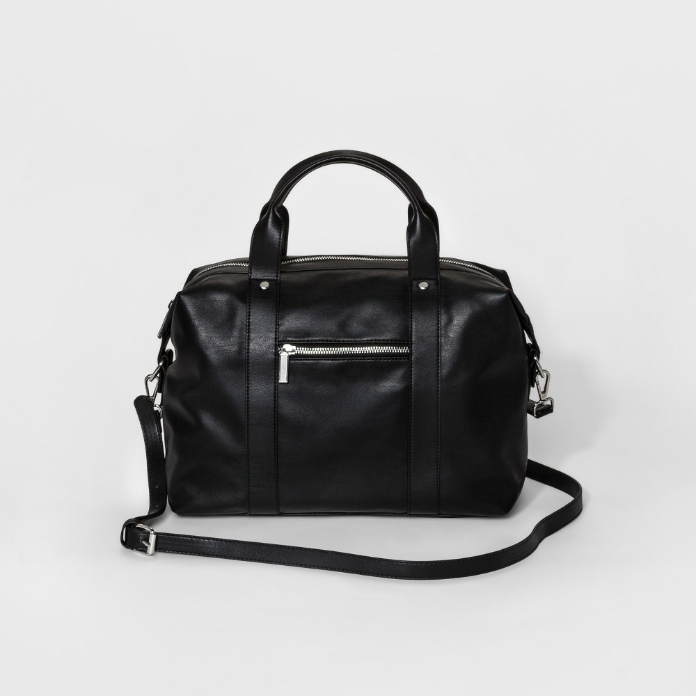 Womens Duffle-Shaped Soft Satchel with Crossbody Strap - Mossimo Supply Co. Black